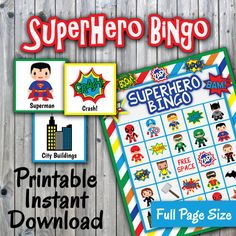 104 best bingo cards images on pinterest bingo games for kids superhero bingo printable game 30 different cards full page size super hero memory game printable party game instant download spiritdancerdesigns Choice Image