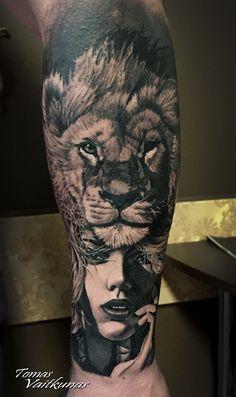 #girl # lion #tattoo #tomasvaitkunas                              …