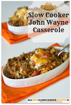 This recipe for Slow Cooker John Wayne Casserole is a cowboy casserole recipe that can't be missed! This delicious and easy slow cooker ground beef recipe is meaty, cheesy, and packed with flavor.