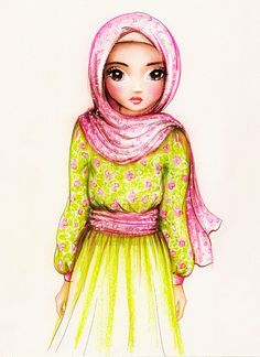 Muslimah in Pink and Green Flower Pattern Hijab