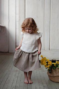 Linen girls skirt, linen kids clothes, washed linen, linen baby skirt, white linen shirt