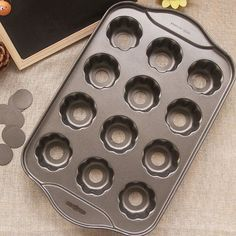 Non Stick Flower Shape Mini Cheese Muffin Pan, 12Pits, Black - OyeKitchen.com