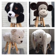 Check out our kids' furniture selection for the very best in unique or custom, handmade pieces from our shops. Crochet Animals, Crochet Toys, Crochet Baby, Knit Crochet, Stool Cover Crochet, Crochet Furniture, Stool Covers, Kids Seating, Kids Furniture