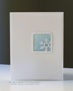 SPARK. Window on front panel. Flake on watercolor INSIDE card peeking through closed front. Pretty idea!! ---I Card Everyone.