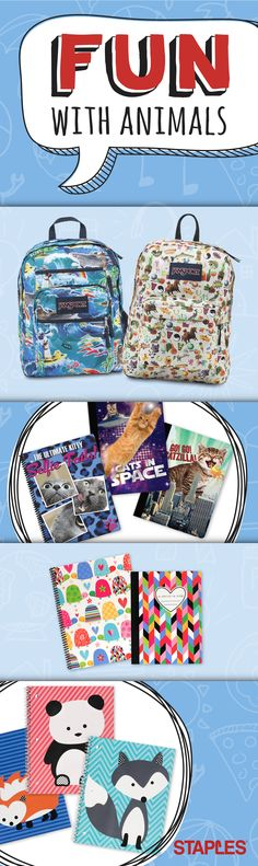 Finally you can take cute critters and fuzzy friends to school. Youll just want to squeeze these fun notebooks and backpacks. Back To School Night, Going Back To School, Middle School, Baby Supplies, School Supplies, Education College, College Life, Kid Experiments, Cute Backpacks