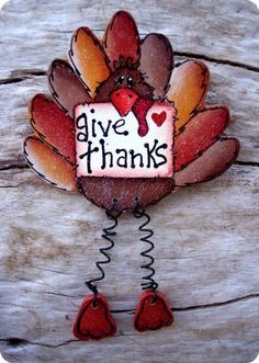 Give Thanks Turkey Pin by CountryCharmers on Etsy, $6.75