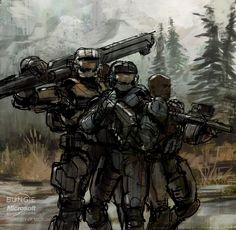 Noble Team #ConceptArt from #HaloReach by #IsaacHannaford