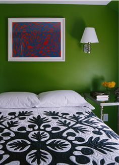 Punchy green bedroom: Black + white bedspread + colorful modern art, by Sheila Bridges by xJavierx, via Flickr
