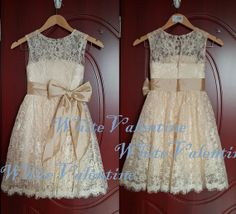 Champagne Lace Flower Girl Dress Country Ivory White Wedding Baby Girl Dress Tulle Small Keyhole on the Back With Bow
