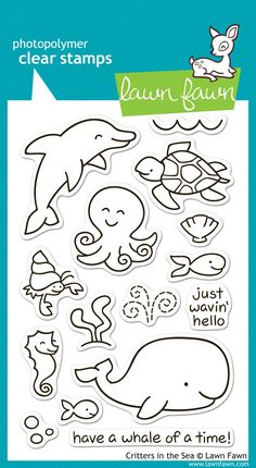 Lawn Fawn - Clear Acrylic Stamps - Critters in the Sea: These cute critters can't wait to make a splash in your next craft project! Lawn Fawn Blog, Tampons Transparents, Lawn Fawn Stamps, Simon Says Stamp, Copics, Digital Stamps, Clear Stamps, Clipart, Paper Crafting