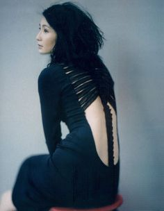 Maggie Cheung in Jean Paul Gaultier Haute Couture by Paolo Roversi for Vogue China, October 2006  skeleton gown