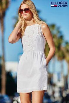 White Tommy Hilfiger Denim Skater Dress