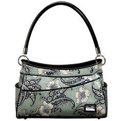 Sophisticated Lady (Blue Paisley) || Dimensions: 12.5″ L x 5″ W x 8.25″ H - Strap Length: 8.5″ - Opening: 5″ - Trim Colors: Charcoal, Platinum - SRP: $105.00 - Available In: Blue Paisley, Tan Paisley