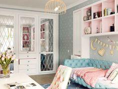 Glamorous guest bed and office combo Small Room Bedroom, Girls Bedroom, Bedroom Decor, Luxury Bedroom Design, Interior Design Living Room, Kids Room Design, Luxurious Bedrooms, My New Room, Lofts