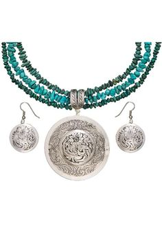 Montana Silversmiths Antiqued Classic Engraved Concho Necklace & Earrings Jewelry Set