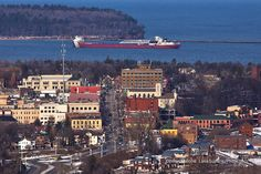 Marquette, Michigan: Freighter Arthur M. Anderson arriving at Marquette's Upper harbor, the view from Mount Marquette.