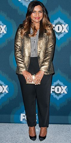 MINDY KALING The perfect way to take your look from 9-5 to happy hour? Top tailored pants (hers are Zero + Maria Cornejo) with patent pumps (by Jerome C. Rousseau) and a metallic Smythe blazer, like Mindy's outfit at the Fox All-Star party in Pasadena, California.