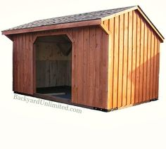 10'x14' Horse Run In with Board & Batten Siding and Oak Kickboards--Amish-built and available in California from Backyard Unlimited http://www.backyardunlimited.com/