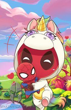 Chibi Deadpool and Spiderman Deadpool Kawaii, Deadpool Y Spiderman, Deadpool Chibi, Deadpool Unicorn, Deadpool Tattoo, Deadpool Funny, Marvel Funny, Deadpool Cake, Deadpool Quotes