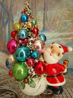 Vtg Holt Howard Santa Candle Holder Decorated Bottle Brush Tree Shiny Brites | eBay