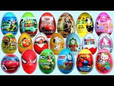 19 Surprise Eggs, Kinder Surprise Cars 2 Mickey Mouse Spongebob Disney Pixar - YouTube