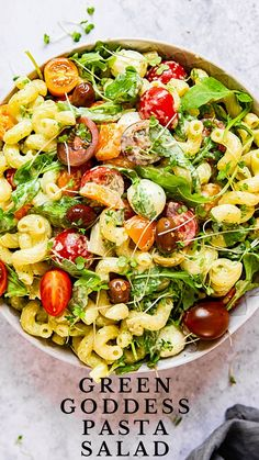 Green Goddess Pasta Salad with cherry tomatoes, arugula and mini mozzarella balls. A delicious summer pasta salad recipe that keeps well in the fridge. Salad Dressing Recipes, Pasta Salad Recipes, Healthy Salad Recipes, Healthy Snacks, Summer Pasta Salad, Summer Salads, Green Goddess Salad Dressing, Green Goddess Salad Recipe, Comfort Food