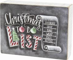 "Primitives By Kathy Chalk Box Sign - ""Christmas To Do List"" 