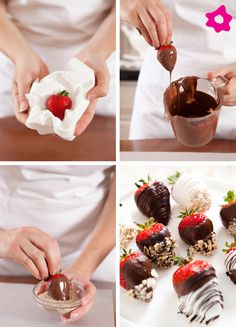 The Bride's Diary - DIY: Chocolate Dipped Strawberries Chocolate Dipped Strawberries, Chocolate Covered Strawberries, Strawberry Dip, Strawberry Recipes, Yummy Treats, Sweet Treats, Yummy Food, Just Desserts, Dessert Recipes