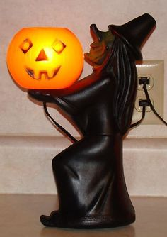 Vintage Halloween Light Up Witch with Jack O Lantern Blow Mold | eBay