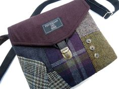 Crossbody Purse iPhone pocket, Recycled mens suit coat , multi color plaid wool, Eco Friendly, ReadyTo Ship