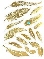 Allydrew Large Metallic Gold Silver and Black Body Art Temporary Tattoos, Phoenix Feathers - Gran Phoenix Feather Tattoos, Phoenix Tattoo Design, Tattoo Feather, Meaning Of Phoenix, Feather Meaning, Knot Tattoo, Flower Outline, Girls With Sleeve Tattoos, Music Tattoos