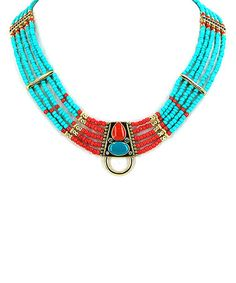Another great find on #zulily! Turquoise & Coral Beaded Multi-Row Necklace by MOA International Corp #zulilyfinds