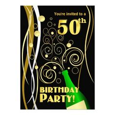 Shop Birthday Party - Fun and Festive Champagne Invitation created by SquirrelHugger. 50th Birthday Cakes For Men, 30th Birthday Quotes, 90th Birthday Gifts, 50th Birthday Party Invitations, Birthday Gifts For Brother, Happy Birthday Friend, Men Birthday, 50th Party, Invites