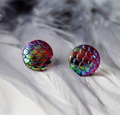 Multicoloured Dragon Scale Stud Earrings by HanasDesigns on Etsy