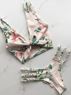Cute Floral Printed Tie Front Swimsuit