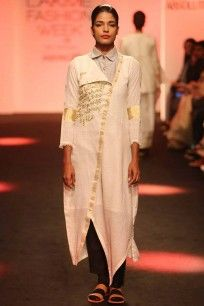 Ivory embroidered asymmetric tunic dress