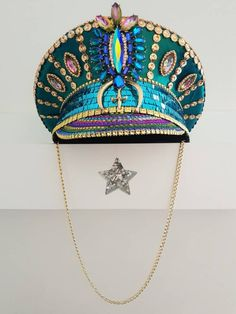 Gorgeous turquoise and gold customised captain hat takes 1 - 2 weeks to make available in sizes to Festival Mode, Festival Gear, Festival Fashion, Festival Hats, Estilo Burning Man, Ropa Burning Man, Make Carnaval, Mardi Gras Outfits, Burning Man Fashion