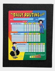 My Daily Routine Chart - improve organizational skills - responsibility - erasable charts