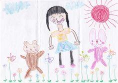 ■■■とうみょうこども園/5歳/女の子■■■ 【作品タイトル】お花畑で遊ぼう 【伝えたい事】お花がいっぱい咲いている所でかわいい動物たちと一緒に遊びたいです。