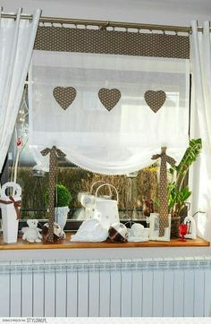 kitchen curtains and curtains Burlap Curtains, Curtains With Blinds, Valance Curtains, Porch Valance, Short Curtains, Valances, Shabby Chic Kitchen, Shabby Chic Decor, Cortinas Country