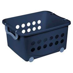 Sterilite Stackable Wheeled Basket - Blue