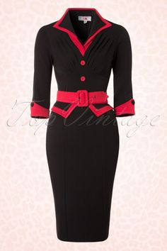 Miss Candyfloss - 50s Myrna Pencil Dress in Black and Red