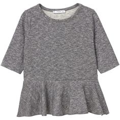 Flecked Peplum T-Shirt ($12) ❤ liked on Polyvore featuring tops, t-shirts, 3/4 sleeve peplum top, frill top, 3/4 length sleeve tops, 3/4 sleeve t shirts and flounce tops