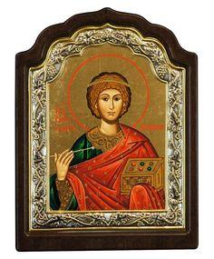 Saint Panteleimon (Silver icon - C Series) Byzantine Icons, Client Gifts, Religious Icons, Christian Faith, Priest, Reign, Christianity, Saints, Canvas