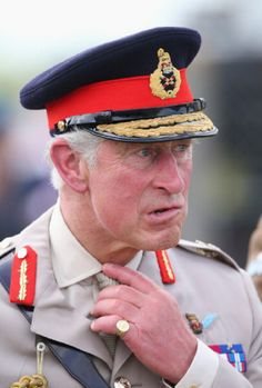 Prince Charles, Prince of Wales watches a parachute jump just outside Rainville during D-Day 70 Commemorations, 05.06.2014 in Ranville, France.