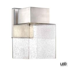 Hampton Bay, Essex Collection Wall Mounted Outdoor Brushed Nickel LED Powered Lantern, HB7054-35 at The Home Depot - Tablet