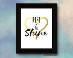Rise & Shine // Typography Print // Gold Heart // Nursery Print // Bedroom Print // Instant Download // 8x10