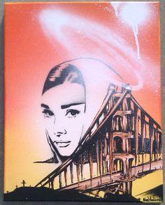 Audrey Hepburn Angel Golden Gate Bridge Orange & Yellow Original Stencil Painting by Adam Valentino Stencil Painting, Audrey Hepburn, Golden Gate Bridge, Canvas Frame, Art For Sale, Stencils, Original Paintings, My Arts, Angel