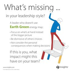What's missing in your leadership style? A leader who doesn't use Earth Green energy may: