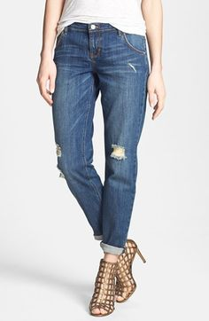 Dittos 'Charlie' Destroyed Boyfriend Jeans (Lady Foot) available at #Nordstrom